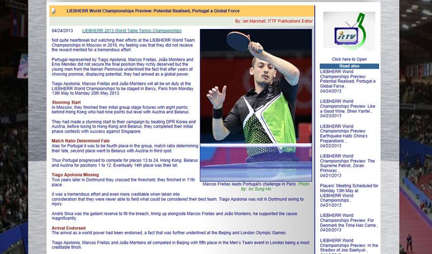 Site da ITTF destaca Seleção Nacional
