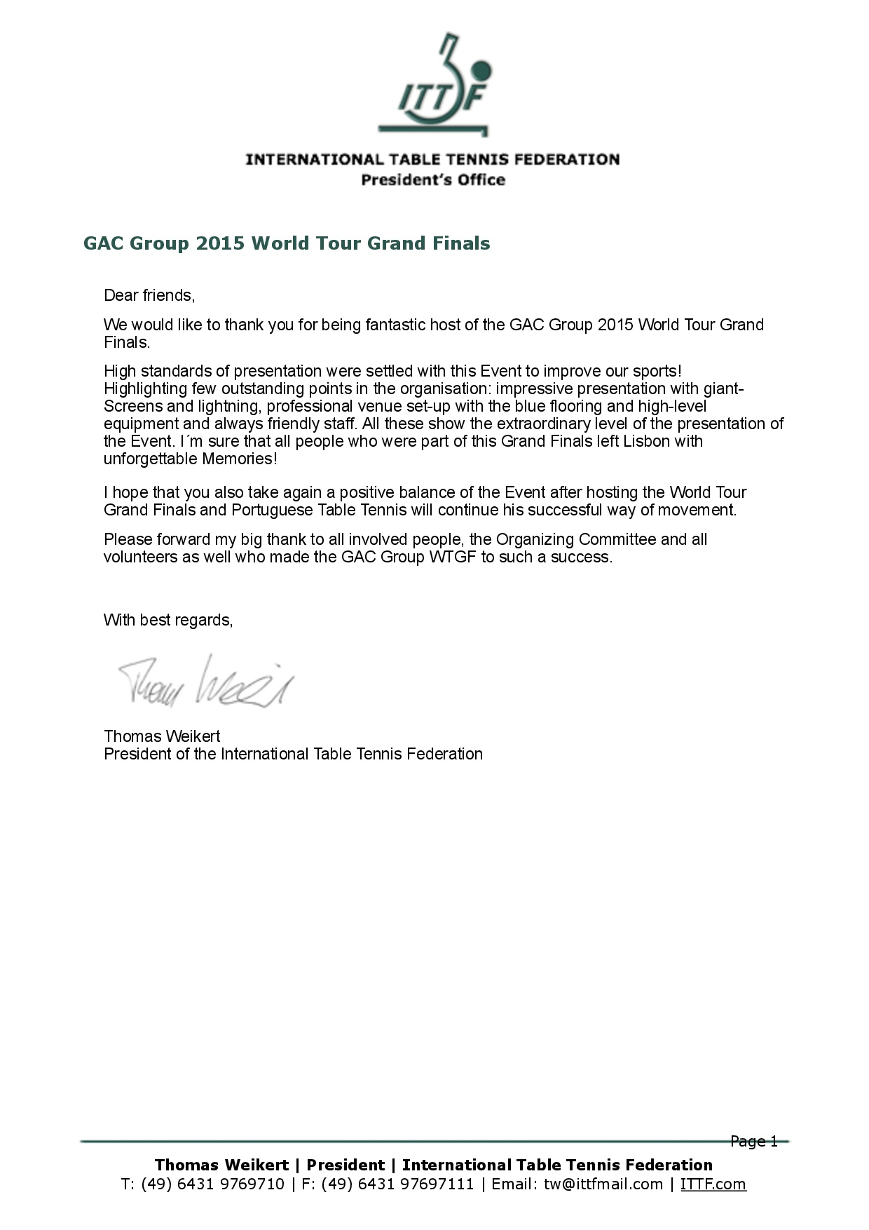 PRESIDENTE DA ITTF FELICITA ORGANIZAÇÃO DO 2015 GAC GROUP WORLD TOUR GRAND FINALS